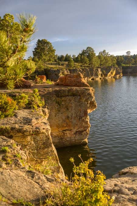 Golden hour Keyhole State Park rock cliffs RV camping trip in Wyoming-min