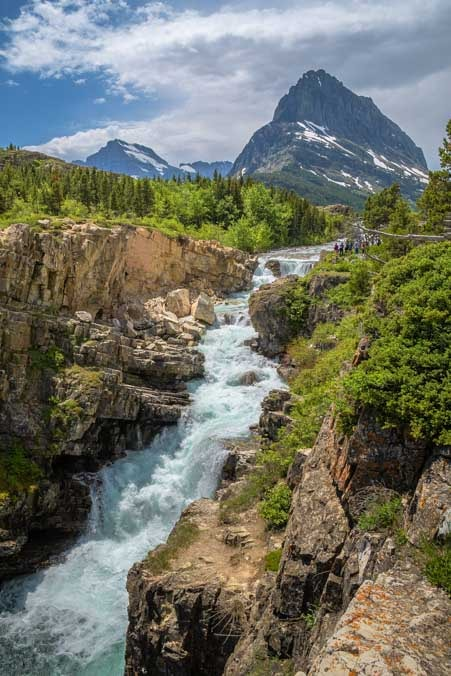 Waterfall at Many Glacier in Glacier National Park Montana-min