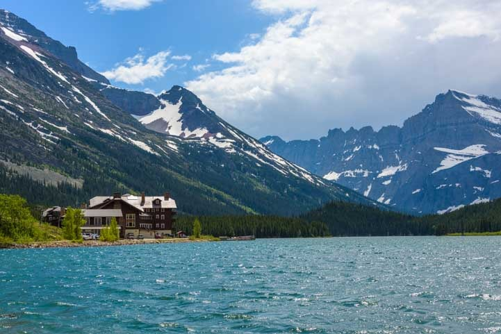 Many Glacier Hotel in Glacier National Park on Swiftcurrent Lake-min
