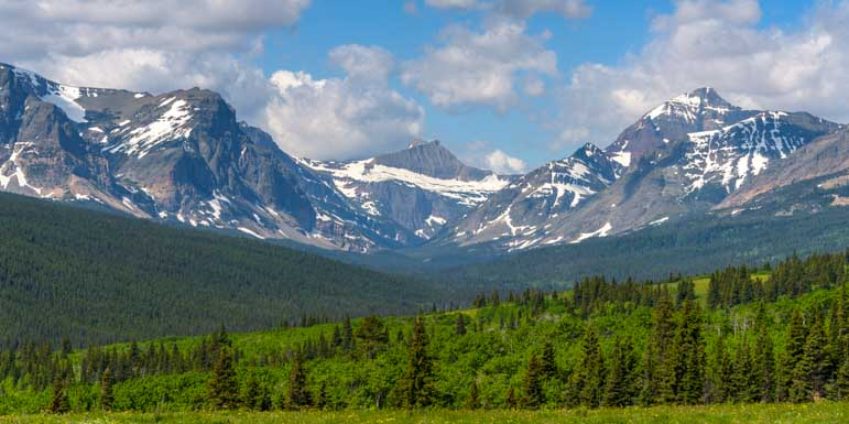 Mountain views east of Glacier National Park Montana on an RV trip-min