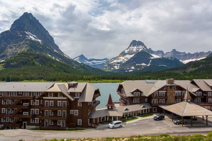 Many Glacier Hotel on Swiftcurrent Lake Glacier National Park Montana-min