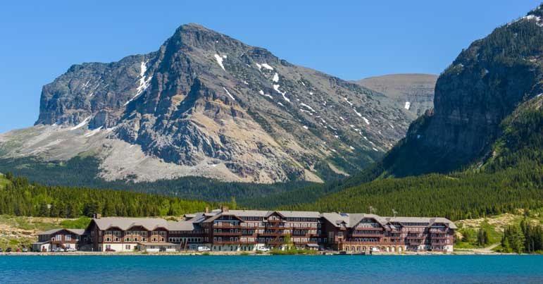 Many Glacier Hotel viewed across Swiftcurrent Lake in Glacier National Park Montana