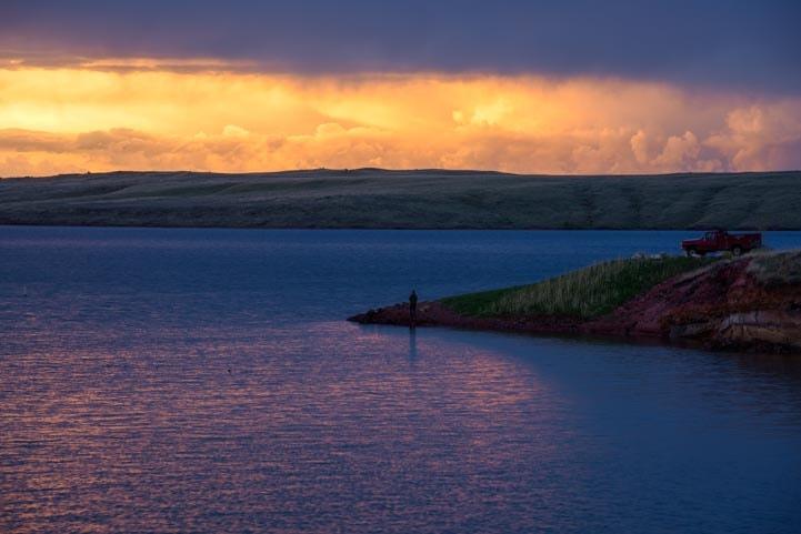 Lake De Smet fishing at sunset-min