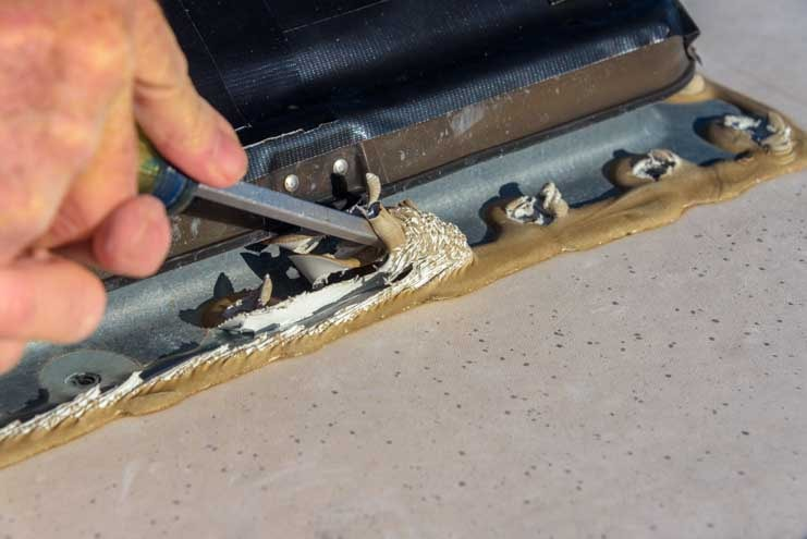 Remove Dicor Lap Sealant from RV roof vent before removing the vent-min