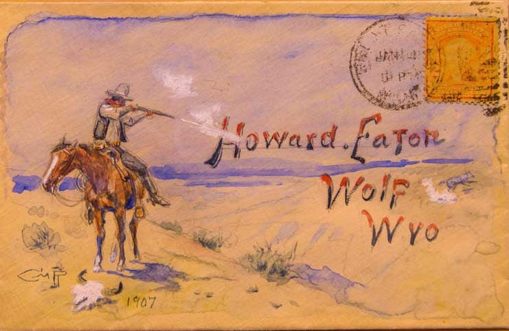 Envelope from artist CM Russell to Howard Eaton dude ranch owner in Wolf Wyoming-min