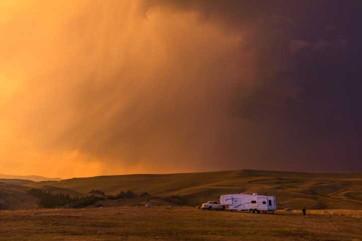 Stormy sunset RV camping in Wyoming-min