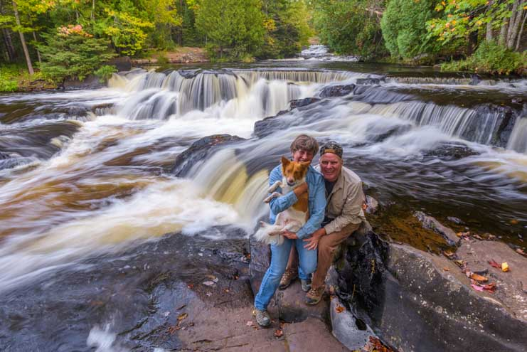 Happy campers at Bond Falls Waterfall Michigan Upper Peninsula cascade