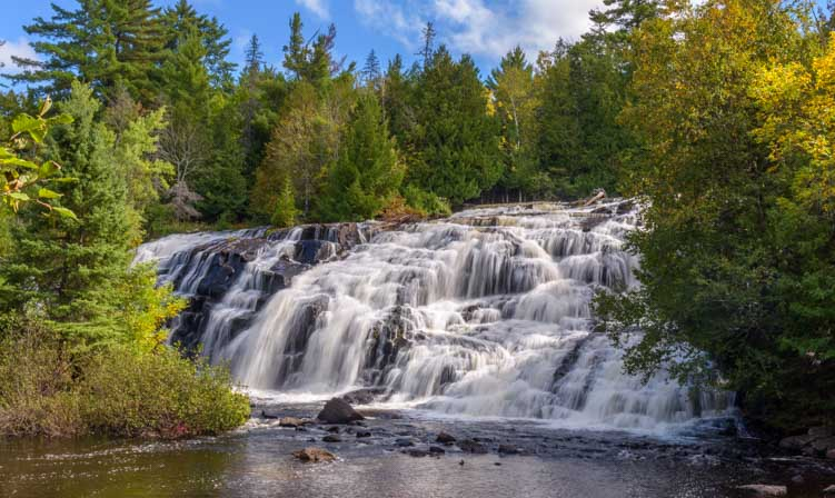 Bond Falls is one of the most popular waterfalls in Michigan Upper Peninsula-min