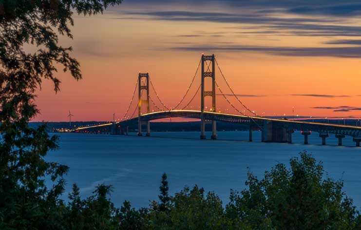 Mackinac Bridge at sunset RV trip-min