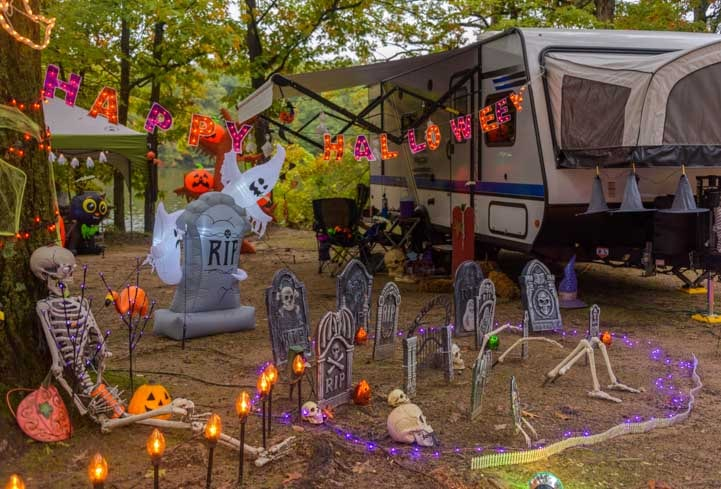 Halloween cemetery at an RV campsite-min