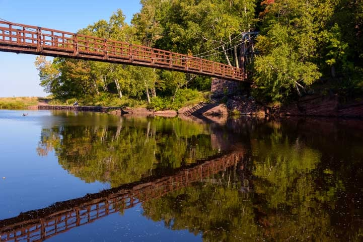 Suspension bridge Black River Harbor Michigan-min