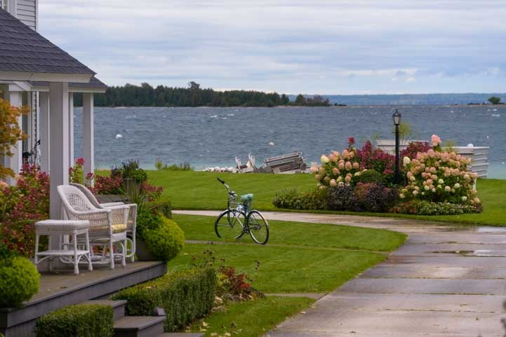 Bike in the yard Mackinac Island Michigan-min