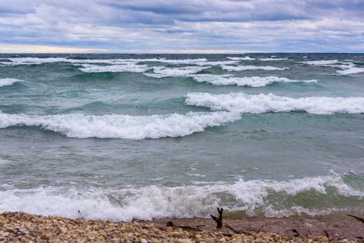 Storm clouds and waves Mackinac Island Michigan-min