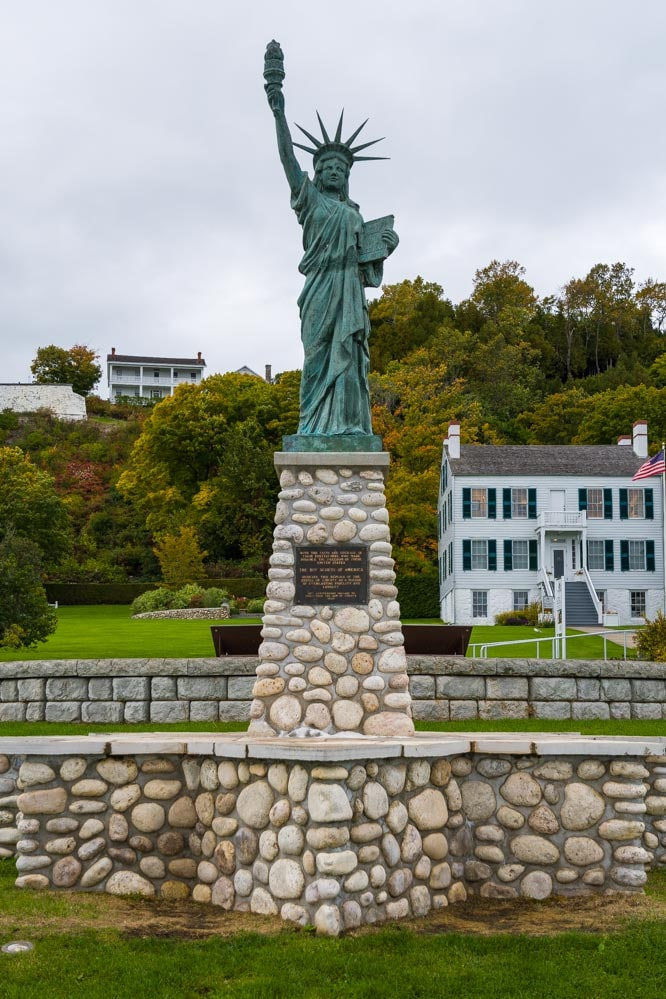 Mackinac Island statue of liberty in Michigan-min