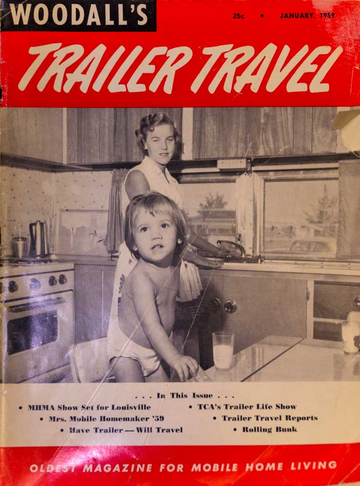 Woodall's Trailer Travel Magazine Cover January 1959 RV-MH Hall of Fame and Museum-min