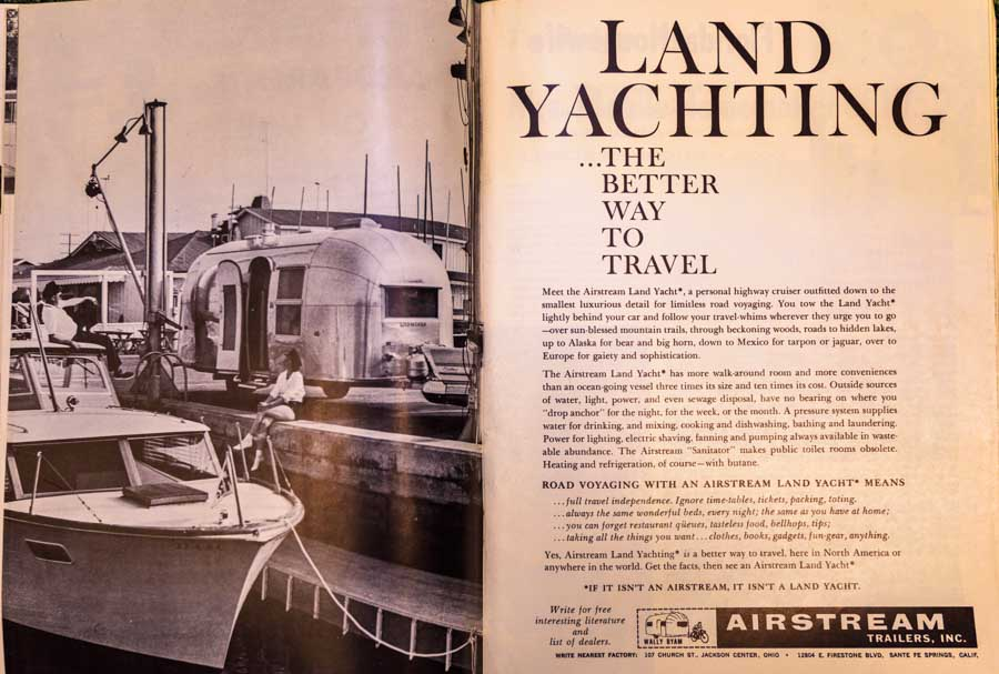 Land Yachting Woodall's Trailer Travel Magazine Cover January 1959 RV-MH Hall of Fame and Museum-min