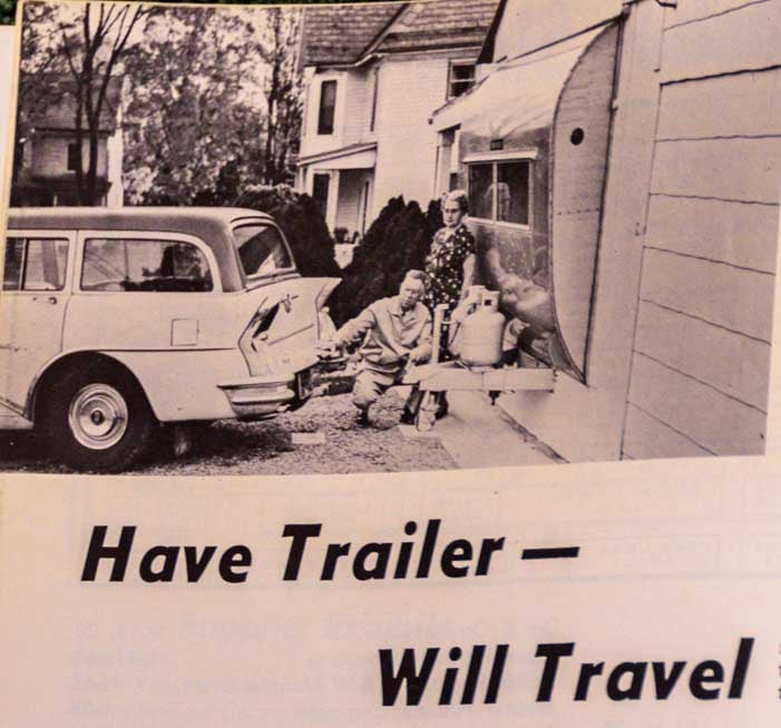 Have Trailer Will Travel Woodall's Trailer Travel Magazine Cover January 1959 RV-MH Hall of Fame and Museum-min