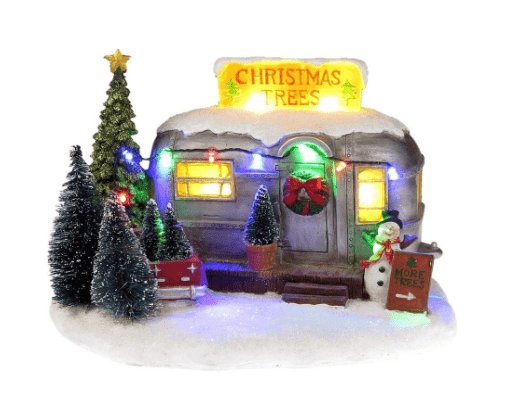 Vintage RV with Christmas trees for sale