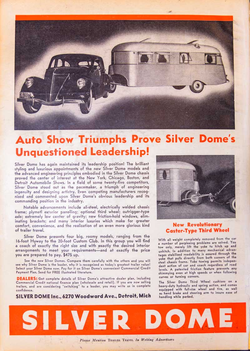 Trailer Travel Magazine 1937 Silver Dome Ad RV-MH Hall of Fame and Museum Elkhart IN-min