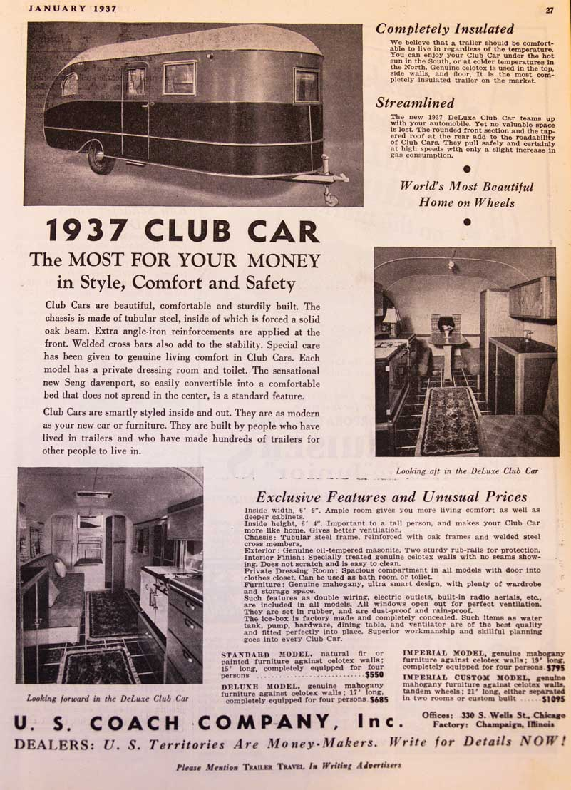 1937 Trailer Travel Magazine Club Car Ad RV-MH Hall of Fame and Museum Elkhart IN-min