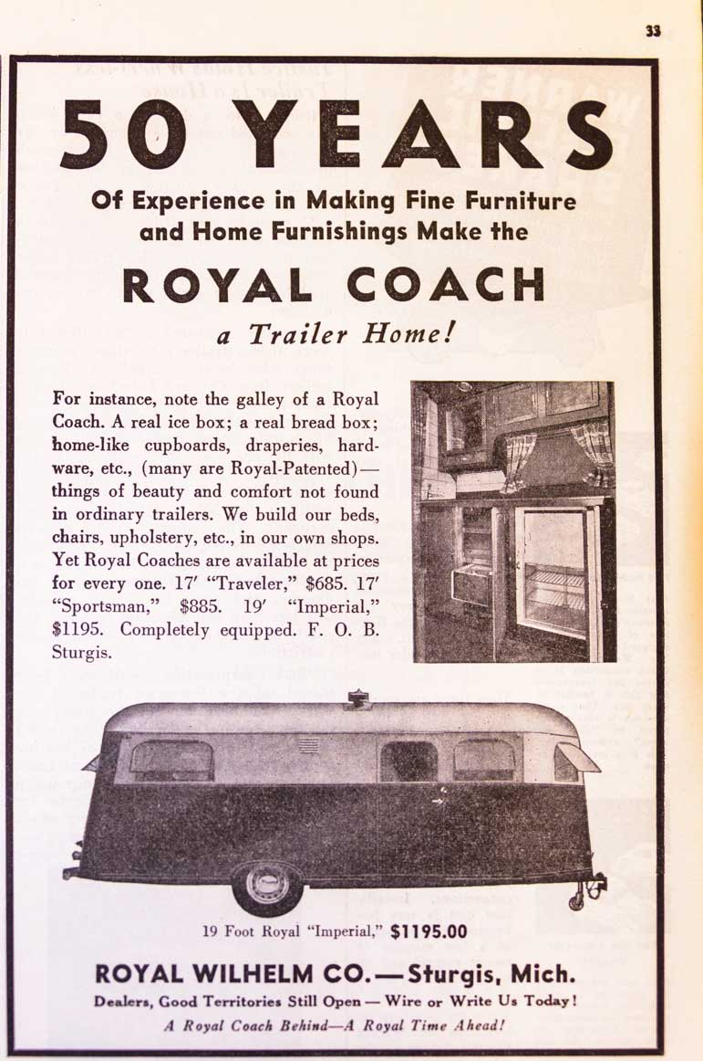 1937 Trailer Travel Magazine Royal Coach Ad RV-MH Hall of Fame and Museum Elkhart IN-min