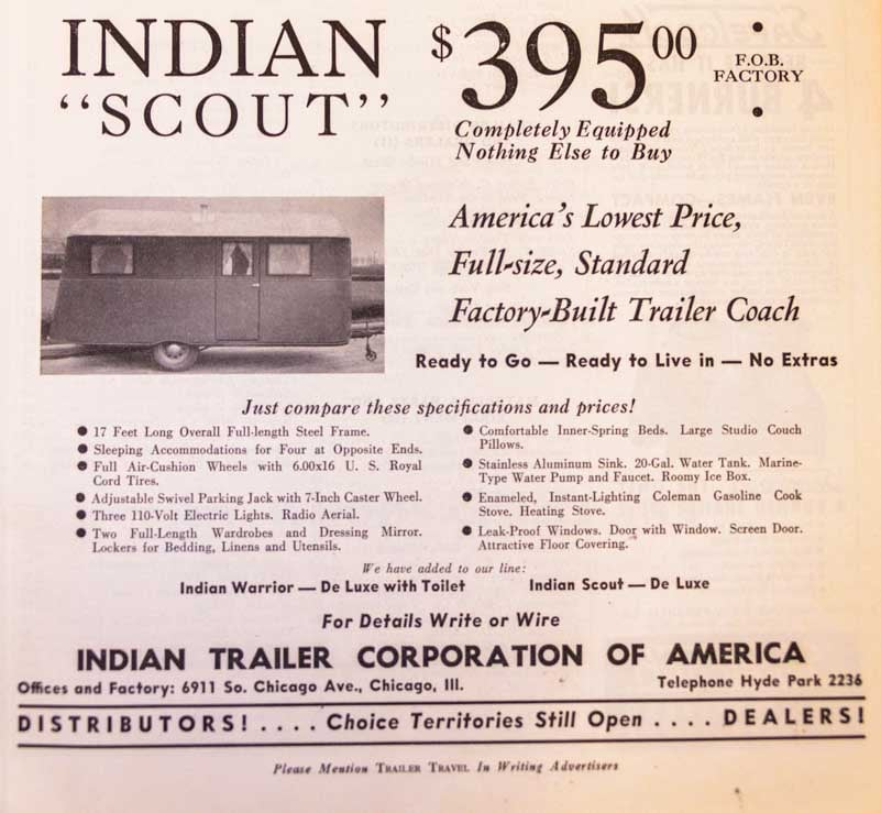 1937 Trailer Travel Magazine RV-MH Hall of Fame and Museum Elkhart IN Indian Scout Trailer Ad-min