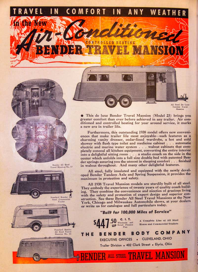 Trailer Travel Magazine 1937 Bender Travel Mansion Ad RV-MH Hall of Fame and Museum Elkhart IN-min