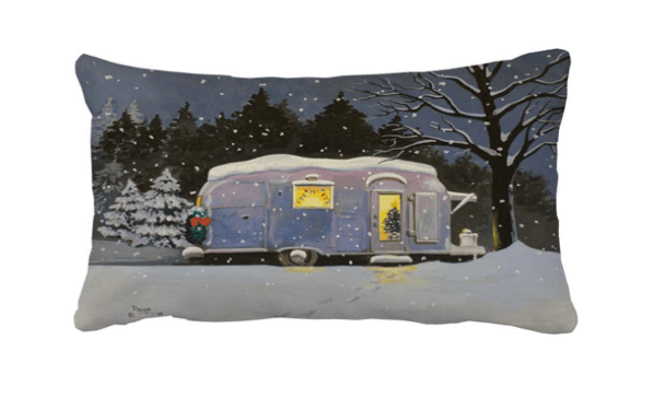 Airstream trailer on snowy night pillowcase cover-min