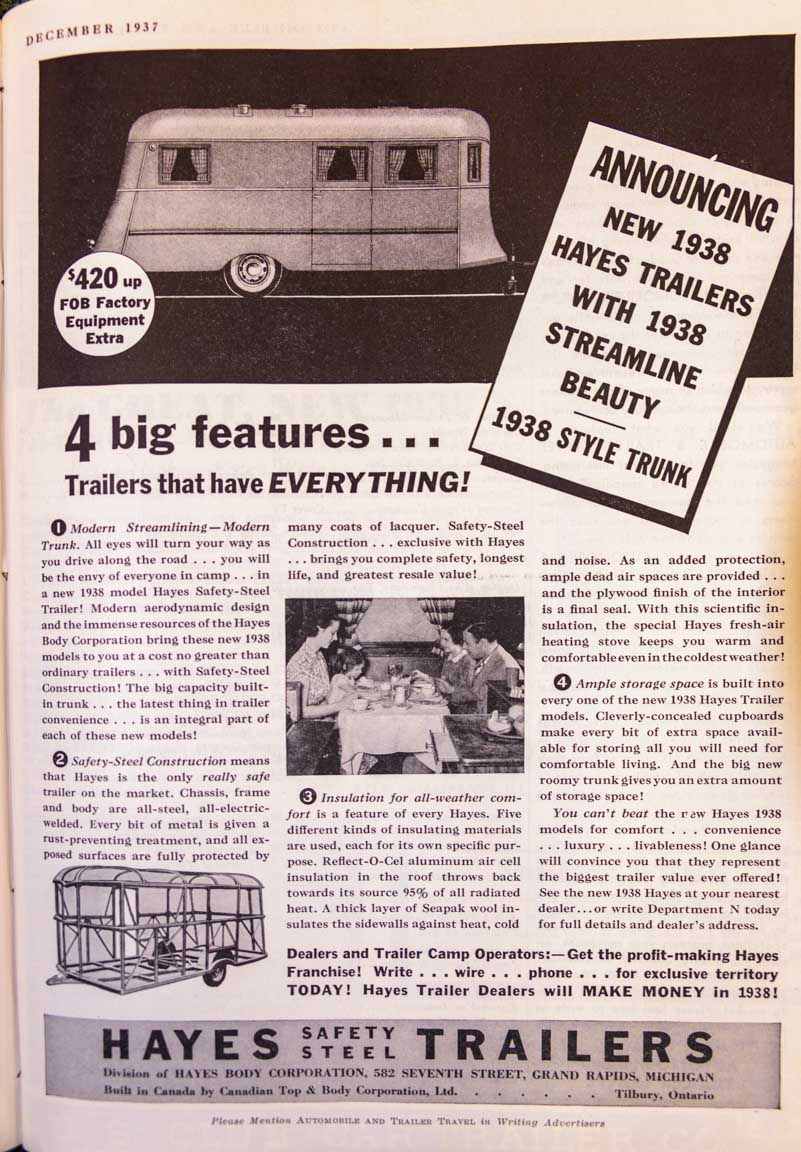 1937 Trailer Travel Magazine 1938 Hayes Trailer Ad RV-MH Hall of Fame and Museum Elkhart IN-min