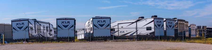 XLR Thunderbolt toy haulers lined up in Elkhart Indiana RV plant-min