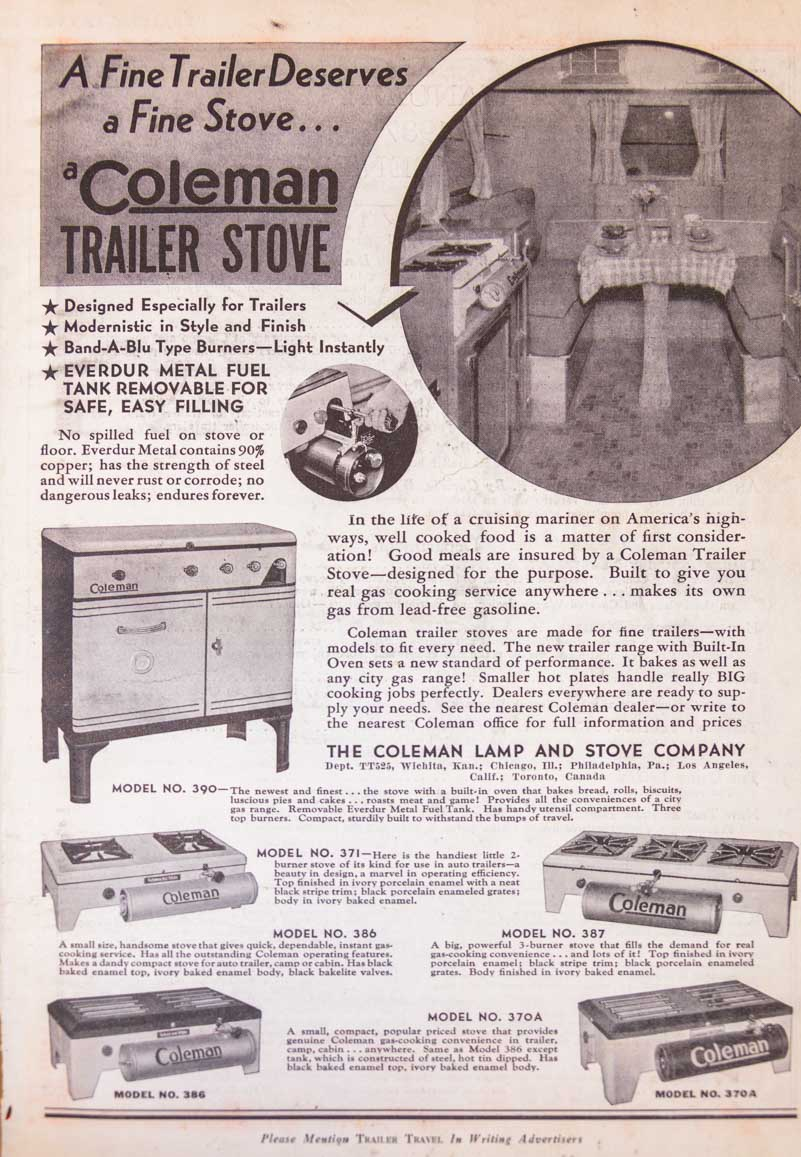 Coleman Stove Ad 1937 Trailer Travel Magazine RV-MH Hall of Fame and Museum Elkhart IN-min