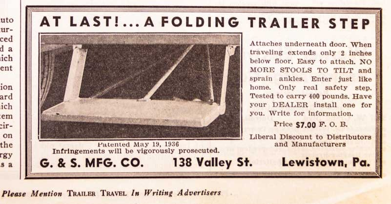 Folding Trailer Step Ad 1937 Trailer Travel Magazine RV-MH Hall of Fame and Museum Elkhart IN-min