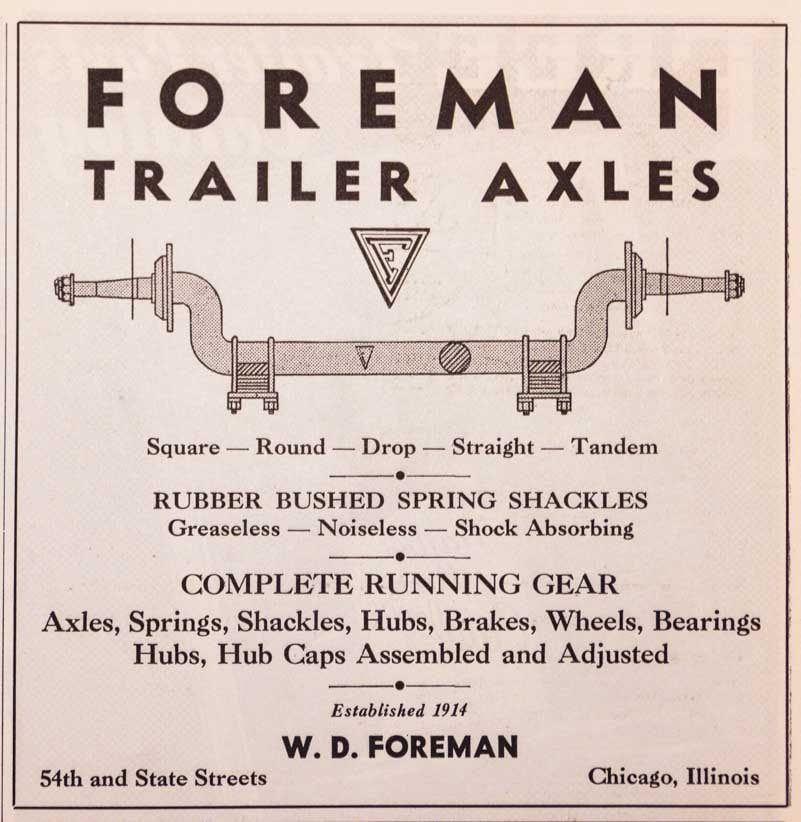 Foreman Trailer Axles Ad 1937 Trailer Travel Magazine RV-MH Hall of Fame and Museum Elkhart IN-min