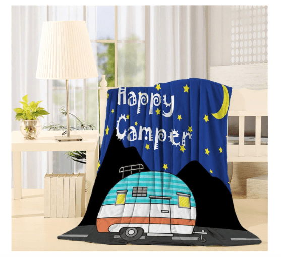 Happy Campers fleece throw blanket various sizes-min