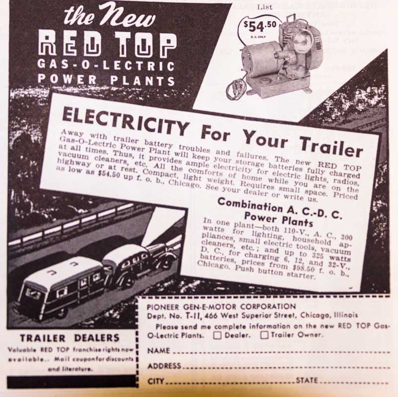 Red Top Gas-O-Lectric Power Plant Ad Foreman Trailer Axles Ad 1937 Trailer Travel Magazine RV-MH Hall of Fame and Museum Elkhart IN-min
