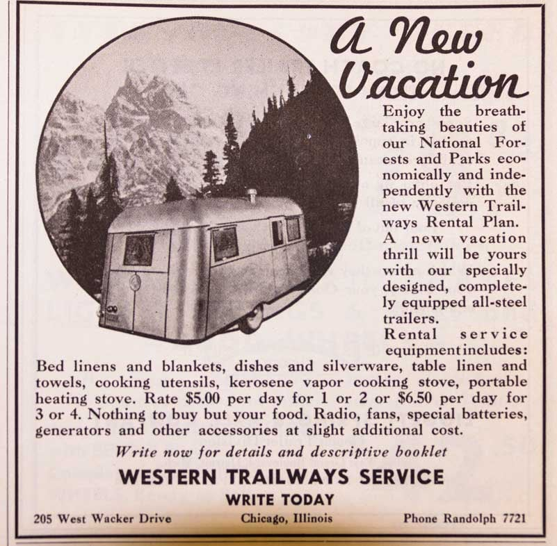 1937 Trailer Travel Magazine Ad RV-MH Hall of Fame and Museum Elkhart IN Western Trailways Rental Plan-min