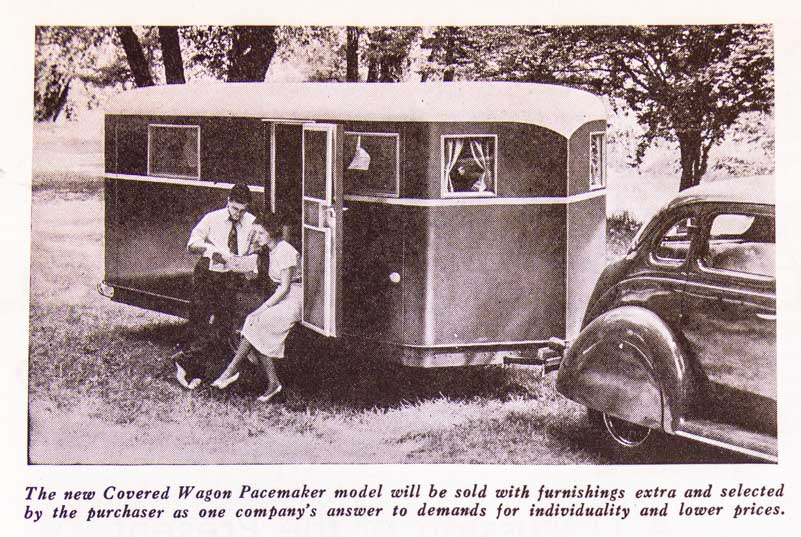 Covered Wagon Pacemaker Trailer Ad 1937 Trailer Travel Magazine RV-MH Hall of Fame and Museum Elkhart IN-min