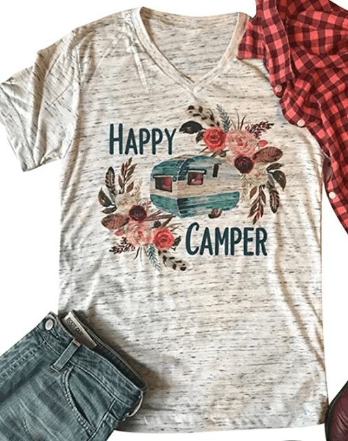 Happy Camper t-shirt for RVers womens-min