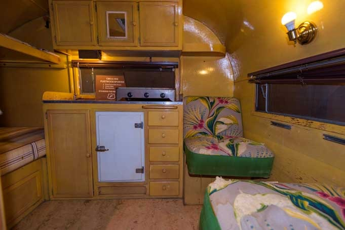 Interior 1950 Fleetwood Sporter travel trailer first Fleetwood built-min