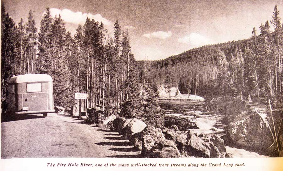 Fire Hole River with trailer at Yellowstone National Park 1937 Trailer Travel Magazine RV-MH Hall of Fame and Museum Elkhart IN-min