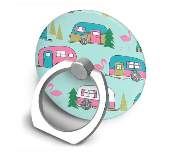 Camper and flamingos cell phone ring-min