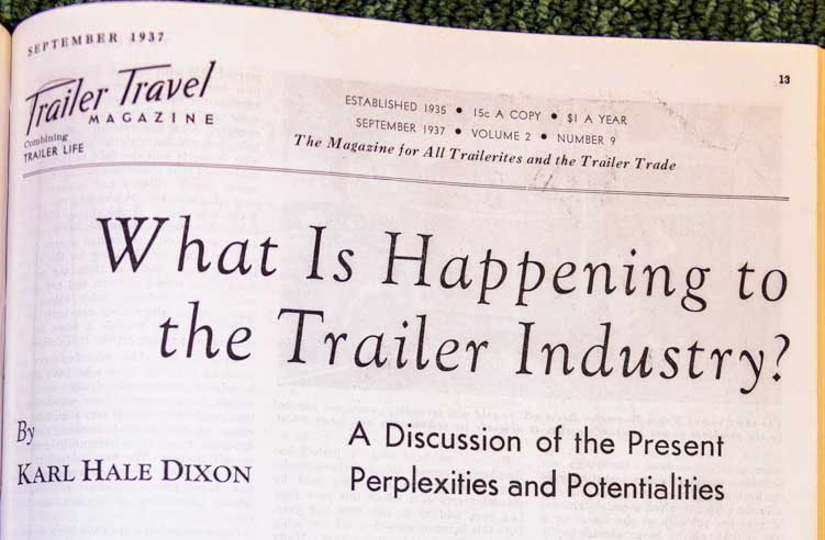 Trailer Travel Magazine September 1937 What is Happening to the Trailer Industry?