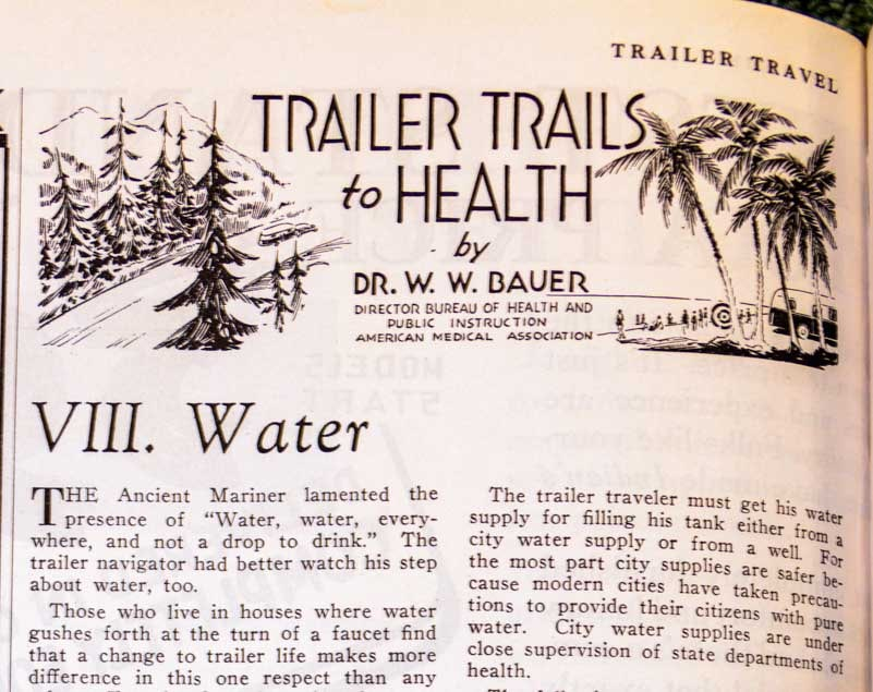 Trailer Travel magazine 1937 Trailer Trails to Health - Water-min