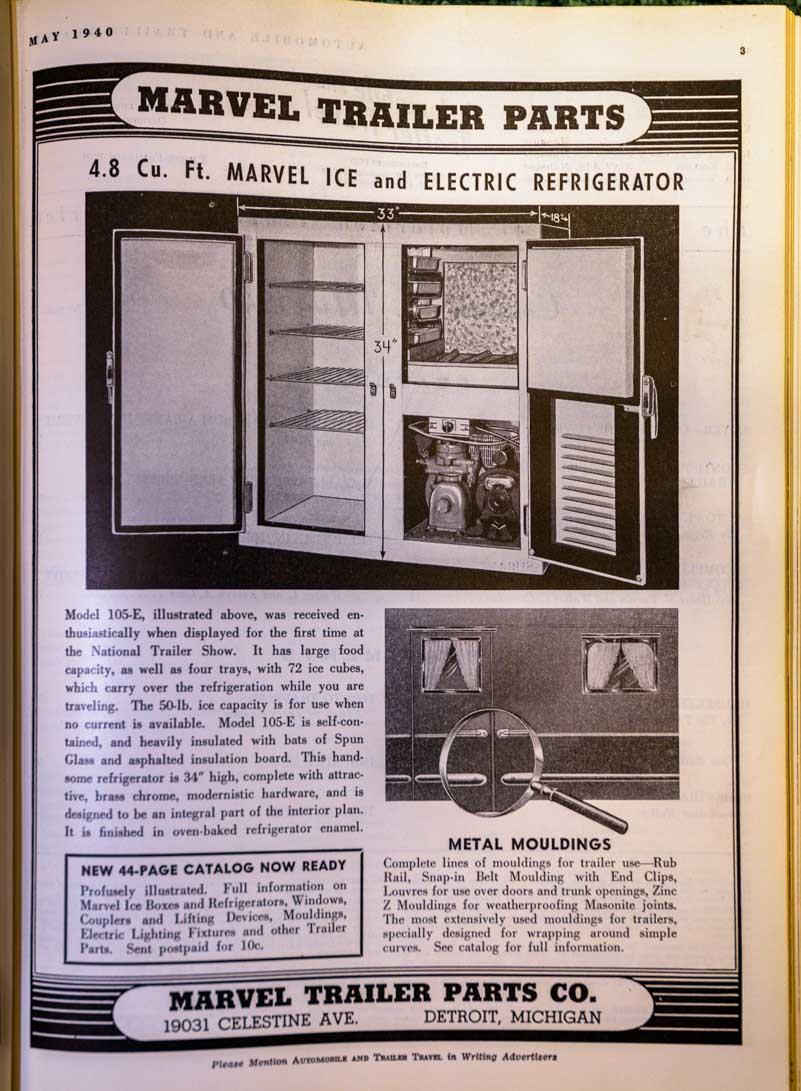 Marvel Trailer 4.8 cubic foot Ice and Electric refrigerator ad from 1940 Trailer Travel Magazine-min