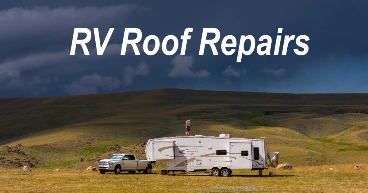 RV Roof Repair patching a rubber roof and replacing a black water tank vent cap