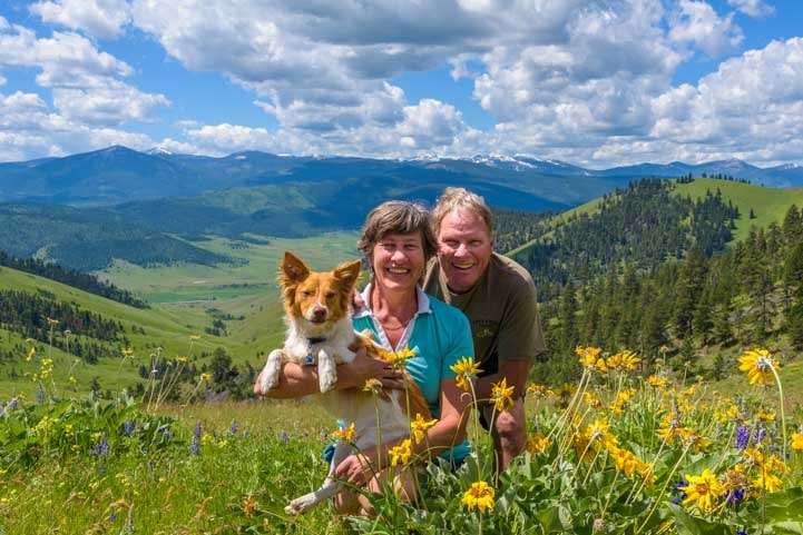 Happy campers in the wildflowers and mountains of Montana-min