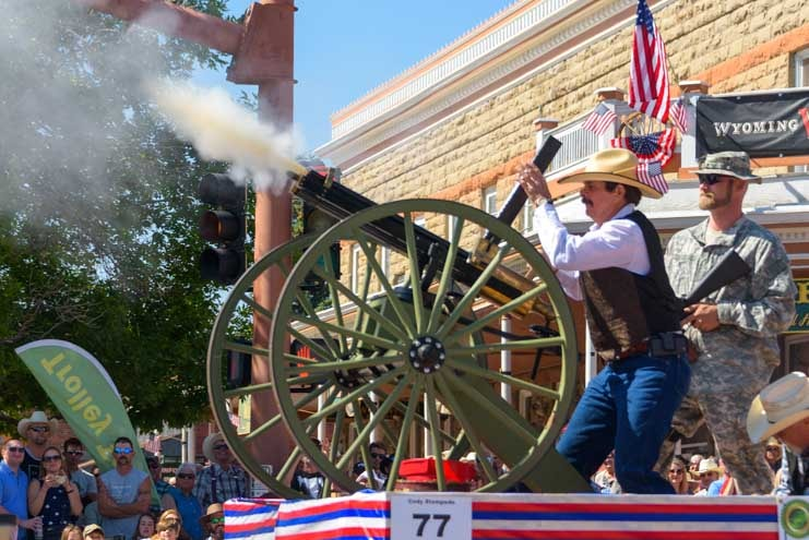 Gatling gun 4th of July parade Cody Wyoming