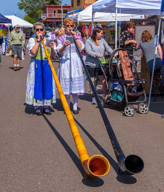 Alpen horns at Walker Minnesota Ethnic Festival and Parade-min