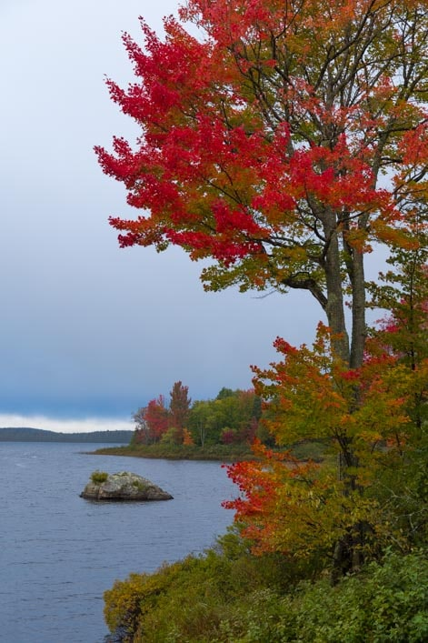 Fall color at Worm Lake in Michigan Upper Peninsula-min