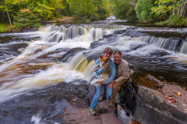 Happy campers at Bond Falls in Michigan's Upper Peninsula-min